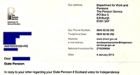 Pension Letter from DWP